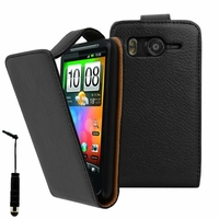 HTC Desire HD/ Ace G10: Etui Simili Cuir + mini Stylet - NOIR
