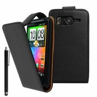 HTC Desire HD/ Ace G10: Etui Simili Cuir + Stylet - NOIR