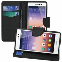 Huawei Ascend P7/ P7 Dual SIM/ P7 Sapphire Edition: Etui portefeuille Support Video cuir PU effet tissu - NOIR
