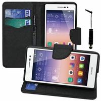 Huawei Ascend P7/ P7 Dual SIM/ P7 Sapphire Edition: Etui portefeuille Support Video cuir PU effet tissu + mini Stylet - NOIR