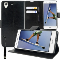 "Huawei Honor 5A/ Huawei Y6 II 5.5"": Etui portefeuille Support Video cuir PU + mini Stylet - NOIR"