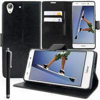 "Huawei Honor 5A/ Huawei Y6 II 5.5"": Etui portefeuille Support Video cuir PU + Stylet - NOIR"