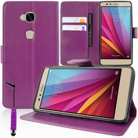 Huawei Honor 5X/ Honor X5/ Huawei GR5: Etui portefeuille Support Video cuir PU + mini Stylet - VIOLET