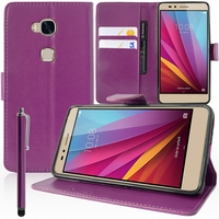 Huawei Honor 5X/ Honor X5/ Huawei GR5: Etui portefeuille Support Video cuir PU + Stylet - VIOLET