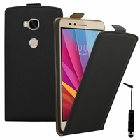 Huawei Honor 5X/ Honor X5/ Huawei GR5: Etui Rabattable Verticale en cuir PU + mini Stylet - NOIR