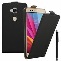 Huawei Honor 5X/ Honor X5/ Huawei GR5: Etui Rabattable Verticale en cuir PU + Stylet - NOIR
