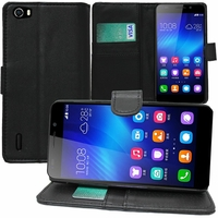 Huawei Honor 6/ H60-L01/ H60-L02/ H60-L04/ H60-L12 (non compatible Honor 6 Plus): Etui portefeuille Support Video cuir PU - NOIR