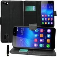 Huawei Honor 6/ H60-L01/ H60-L02/ H60-L04/ H60-L12 (non compatible Honor 6 Plus): Etui portefeuille Support Video cuir PU + mini Stylet - NOIR