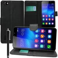 Huawei Honor 6/ H60-L01/ H60-L02/ H60-L04/ H60-L12 (non compatible Honor 6 Plus): Etui portefeuille Support Video cuir PU + Stylet - NOIR