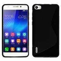 Huawei Honor 6/ H60-L01/ H60-L02/ H60-L04/ H60-L12 (non compatible Honor 6 Plus): Coque silicone Gel motif S au dos - NOIR