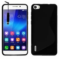 Huawei Honor 6/ H60-L01/ H60-L02/ H60-L04/ H60-L12 (non compatible Honor 6 Plus): Coque silicone Gel motif S au dos + mini Stylet - NOIR