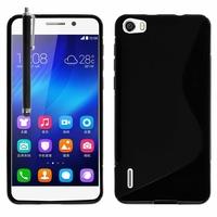 Huawei Honor 6/ H60-L01/ H60-L02/ H60-L04/ H60-L12 (non compatible Honor 6 Plus): Coque silicone Gel motif S au dos + Stylet - NOIR