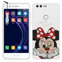 "Huawei Honor 8 5.2"" (non compatible Honor V8): Coque silicone Ultra-Fine Dessin animé jolie + mini Stylet - Minnie Mouse"