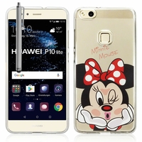 "Huawei P10 Lite 5.2"" (non compatible Huawei P10/ P10 Plus): Coque silicone Ultra-Fine Dessin animé jolie + Stylet - Minnie Mouse"