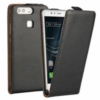 Huawei P9 EVA-L09/ EVA-L19/ EVA-L29 (non compatible Huawei P9 lite/ P9 Plus): Etui Rabattable Verticale en cuir PU - NOIR