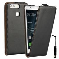 Huawei P9 EVA-L09/ EVA-L19/ EVA-L29 (non compatible Huawei P9 lite/ P9 Plus): Etui Rabattable Verticale en cuir PU + mini Stylet - NOIR