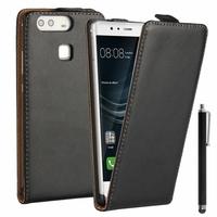 Huawei P9 EVA-L09/ EVA-L19/ EVA-L29 (non compatible Huawei P9 lite/ P9 Plus): Etui Rabattable Verticale en cuir PU + Stylet - NOIR