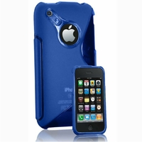 Apple iPhone 3G/ 3GS: Coque silicone Gel motif S au dos - BLEU