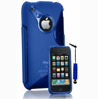 Apple iPhone 3G/ 3GS: Coque silicone Gel motif S au dos + mini Stylet - BLEU