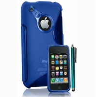 Apple iPhone 3G/ 3GS: Coque silicone Gel motif S au dos + Stylet - BLEU