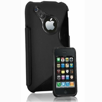 Apple iPhone 3G/ 3GS: Coque silicone Gel motif S au dos - NOIR