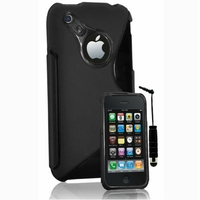 Apple iPhone 3G/ 3GS: Coque silicone Gel motif S au dos + mini Stylet - NOIR