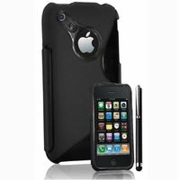 Apple iPhone 3G/ 3GS: Coque silicone Gel motif S au dos + Stylet - NOIR