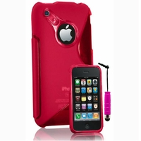 Apple iPhone 3G/ 3GS: Coque silicone Gel motif S au dos + mini Stylet - ROSE