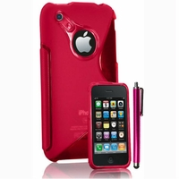 Apple iPhone 3G/ 3GS: Coque silicone Gel motif S au dos + Stylet - ROSE