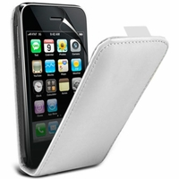 Apple iPhone 3G/ 3GS: Etui Rabattable Verticale en cuir PU - BLANC