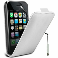 Apple iPhone 3G/ 3GS: Etui Rabattable Verticale en cuir PU + mini Stylet - BLANC
