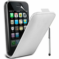 Apple iPhone 3G/ 3GS: Etui Rabattable Verticale en cuir PU + Stylet - BLANC