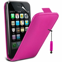Apple iPhone 3G/ 3GS: Etui Rabattable Verticale en cuir PU + mini Stylet - ROSE