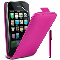 Apple iPhone 3G/ 3GS: Etui Rabattable Verticale en cuir PU + Stylet - ROSE