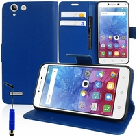 Lenovo Vibe K5/ K5 Plus A6020a46/ Lemon 3: Etui portefeuille Support Video cuir PU + mini Stylet - BLEU FONCE
