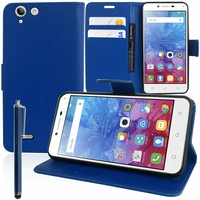 Lenovo Vibe K5/ K5 Plus A6020a46/ Lemon 3: Etui portefeuille Support Video cuir PU + Stylet - BLEU FONCE