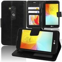 LG L Fino/ LG D290N/ LG D295: Etui portefeuille Support Video cuir PU - NOIR