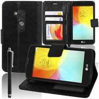 LG L Fino/ LG D290N/ LG D295: Etui portefeuille Support Video cuir PU + Stylet - NOIR
