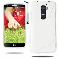 LG G2 Mini LTE Dual Sim D618 D620 D620R D620K: Coque silicone Gel motif S au dos + mini Stylet - BLANC
