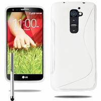LG G2 Mini LTE Dual Sim D618 D620 D620R D620K: Coque silicone Gel motif S au dos + Stylet - BLANC