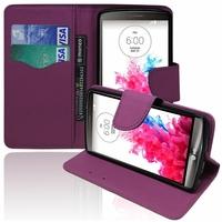 LG G3 D850/ D851/ D855/ VS985/ LS990/ D852/ G3 LTE-A/ F460/ G3 Prime: Etui portefeuille Support Video cuir PU effet tissu - VIOLET