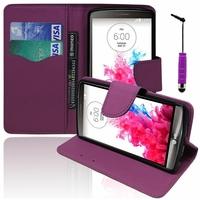 LG G3 D850/ D851/ D855/ VS985/ LS990/ D852/ G3 LTE-A/ F460/ G3 Prime: Etui portefeuille Support Video cuir PU effet tissu + mini Stylet - VIOLET