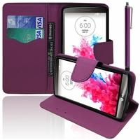 LG G3 D850/ D851/ D855/ VS985/ LS990/ D852/ G3 LTE-A/ F460/ G3 Prime: Etui portefeuille Support Video cuir PU effet tissu + Stylet - VIOLET