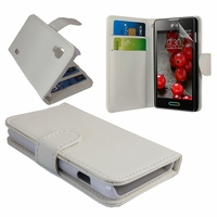 LG Optimus L5 II E460 (non compatible LG L5 II E455 Dual Sim): Etui portefeuille Livre Housse Coque Pochette cuir PU - BLANC