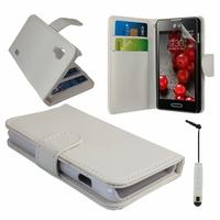 LG Optimus L5 II E460 (non compatible LG L5 II E455 Dual Sim): Etui portefeuille Livre Housse Coque Pochette cuir PU + mini Stylet - BLANC