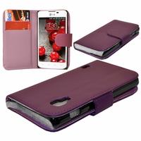 LG Optimus L5 II E460 (non compatible LG L5 II E455 Dual Sim): Etui portefeuille Livre Housse Coque Pochette cuir PU - VIOLET
