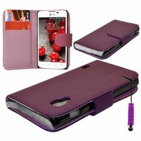 LG Optimus L5 II E460 (non compatible LG L5 II E455 Dual Sim): Etui portefeuille Livre Housse Coque Pochette cuir PU + mini Stylet - VIOLET