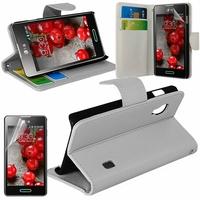 LG Optimus L5 II E460 (non compatible LG L5 II E455 Dual Sim): Etui portefeuille Support Video cuir PU - BLANC