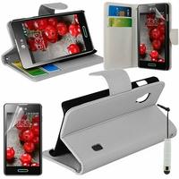 LG Optimus L5 II E460 (non compatible LG L5 II E455 Dual Sim): Etui portefeuille Support Video cuir PU + mini Stylet - BLANC