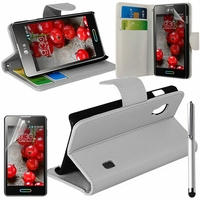 LG Optimus L5 II E460 (non compatible LG L5 II E455 Dual Sim): Etui portefeuille Support Video cuir PU + Stylet - BLANC